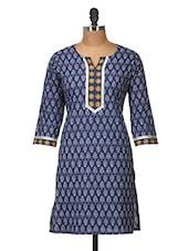 Dark Blue Printed Cotton Kurti - Jaipurkurti.com