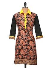 Black Floral Printed Cotton Kurti - Jaipurkurti.com
