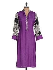 Purple Floral Printed Rayon Kurta - Kaccha Taanka