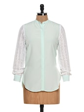 Mint Green Shirt With White Laced Sleeves - Femella