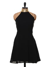Black Halter Neck Dress - Femella