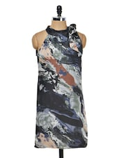 Blue Halter Neck Printed Dress - Meee!