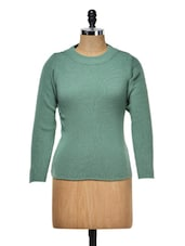 Solid Green Round Neck Top - Meee!