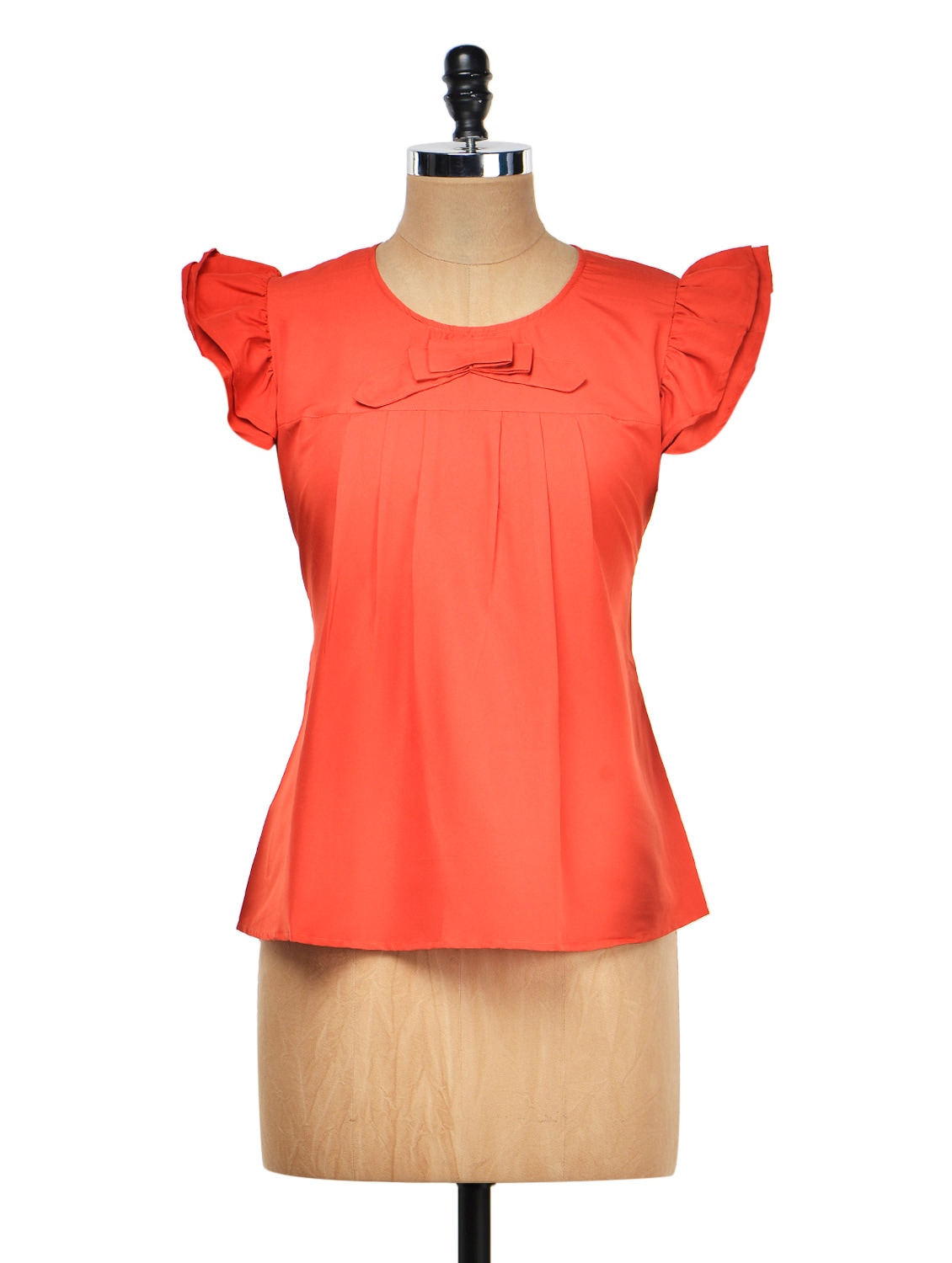 Red Bow Top With Ruffle Sleeves - Meee!