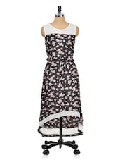 Black Floral Print Dress With Lace Yoke - Meee!