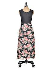 Black Floral Printed Maxi Dress - Meee!