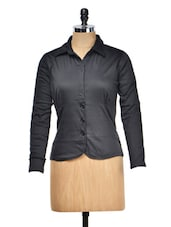 Solid Black Jacket With Buttons - Meee!