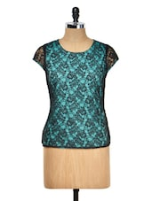 Lace Top With Contrast Aqua Lining - Meee!