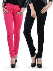 Combo Of Black And Pink Skinny Pants - Dashy Club