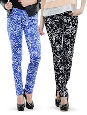 Combo Of Blue And Black Floral Printed Pants - Dashy Club