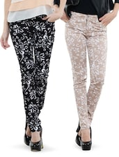 Combo Of Black And Beige Printed Pants - Dashy Club