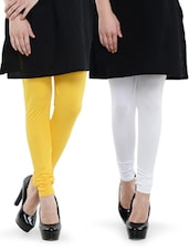 Combo Pack Of Yellow And White Leggings - Dashy Club