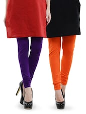 Combo Pack Of Purple And Orange Leggings - Dashy Club