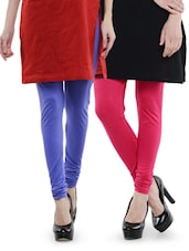 Combo Pack Of Bluish Purple And Pink Leggings - Dashy Club