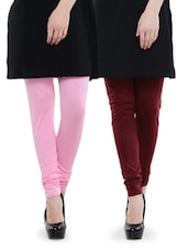 Combo Pack Of Maroon And Baby Pink Leggings - Dashy Club
