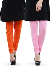 Combo Pack Of Orange And Baby Pink Leggings - Dashy Club