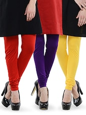 Combo Of Pack Of Three Leggings (Red, Yellow, Purple) - Dashy Club
