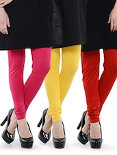 Combo Of Pack Of Three Leggings (Red, Yellow, Pink) - Dashy Club