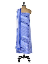 Blue And White Printed Unstitched Suit Set - DFOLKS