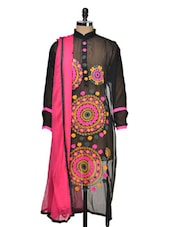 Amazing Black Georgette Kurta With Gorgeous Colourful Embroidery - Tanisi
