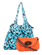 Blue And Orange Canvas Tote And Sling Bag Combo - Be... For Bag