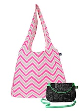 Pink And Black Canvas Tote And Sling Bag Combo - Be... For Bag