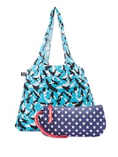 Blue Cotton Canvas Tote And Wristlet - Be... For Bag