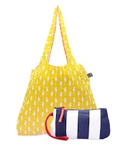 Yellow And Blue Cotton Canvas Tote And Wristlet - Be... For Bag