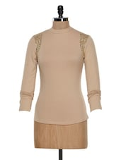Beige Studded Long-Sleeved Top - STREET 9