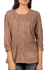 Brown Pin Tuck Top - URBAN RELIGION