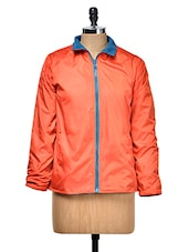 Orange And Blue Reversible Jacket - Yepme