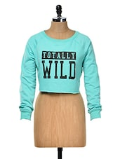 Blue Full Sleeved Crop Top - Yepme