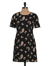 Printed Half Sleeve Polyester Shift Dress - Besiva