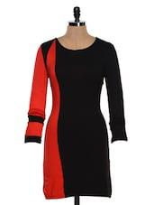 Full Sleeved Contrast Colour Blocked Dress - Besiva