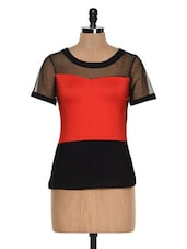Colour Block Dress With Mesh Detail - Besiva
