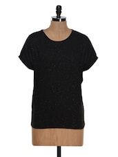 Black Cotton Knit Casual Top - Besiva