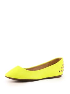 Studded Neon Yellow Ballet Flats - Tresmode