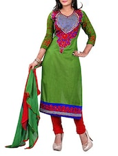 Embroidered Green Cotton Unstitched Suit Set - By