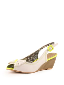 White And Yellow Peep Toe Wedge Sandals - Tresmode
