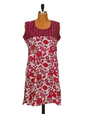 Floral Printed Pink Cotton Kurti - MOTHER HOME