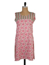 Floral Pink Cotton Kurti With Striped Yoke - MOTHER HOME