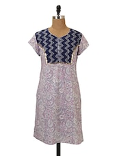 Floral Printed Cotton Kurta With Zigzag Yoke - MOTHER HOME