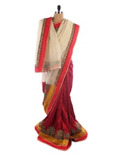 Bright Maroon Saree With Off-white Pallu - Vastrang