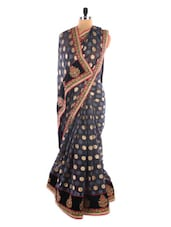 Grey Polka-dotted Saree With Floral Border - Vastrang