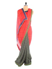 Red Georgette Floral Printed Saree - Vastrang