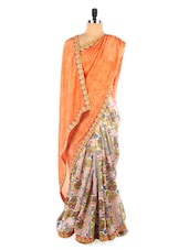 Orange Art Silk Printed Saree - Vastrang