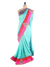 Sea Green And Pink Saree With Patch Work - Vastrang