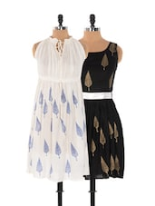Set Of White Printed Dress And Black Printed Dress - Xniva