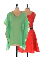 Set Of Red And Black Dress And Green Kaftan Top - Xniva