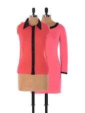 Set Of Solid Pink Dress And Pink Sleeveless Top - Xniva